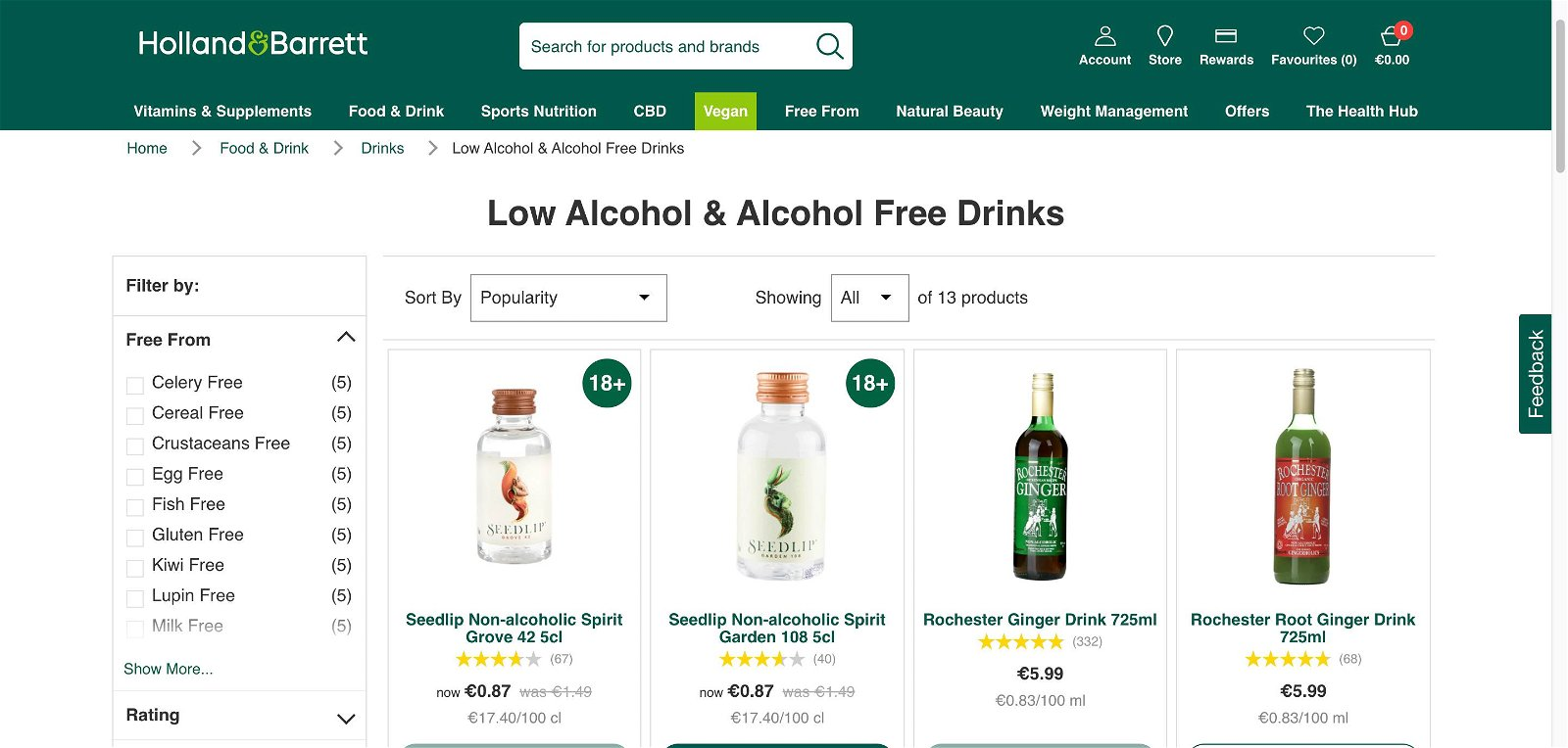 Holland and barrett.ie - Alcohol free drinks 1