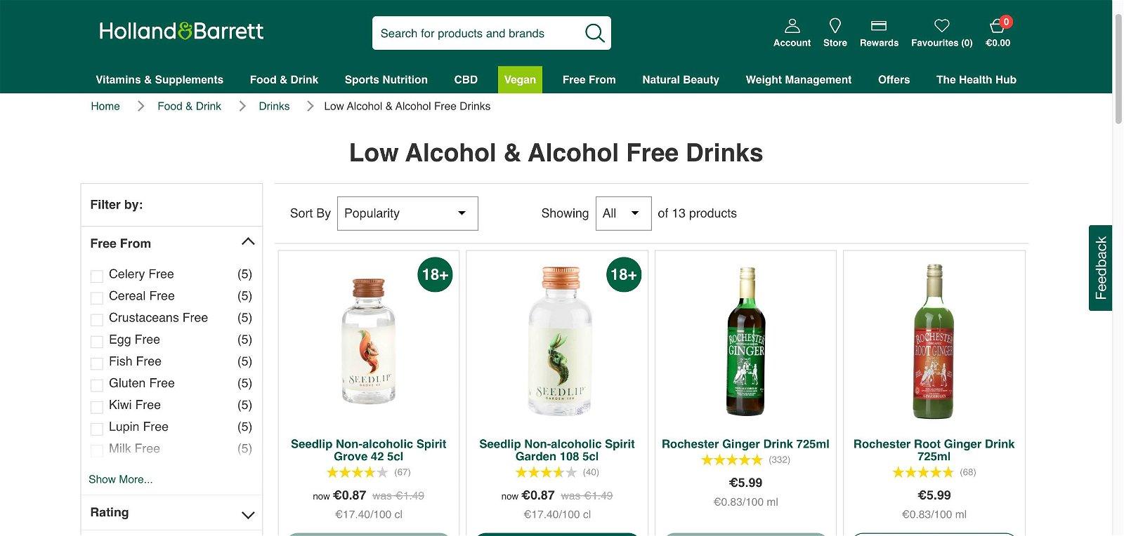 Hollandandbarrett.ie - Alcohol free drinks 1